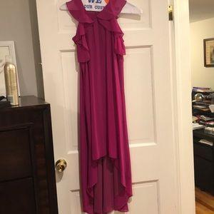 Maternal America Dresses - Maternity Ruffle Chiffon Dress, Magenta